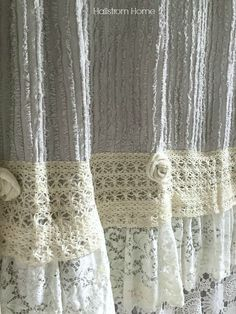 layered lace shower curtain Hallstrom Home More