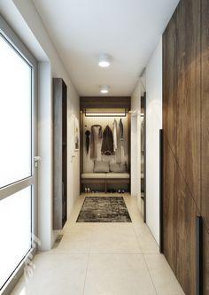 Předsíň na míru se sezením lavicí a osvětlením v rodiném domě. inspiration ideas design Oversized Mirror, Studios, Bench, House, Furniture, Home Decor, Decoration Home, Home, Room Decor