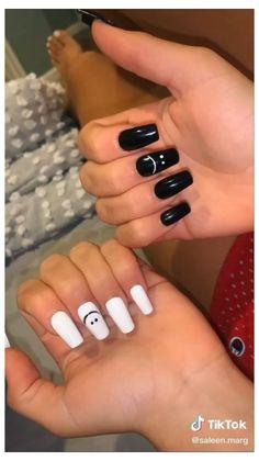 Black and White Nails #summer #acrylic #nails #designs #simple #summeracrylicnailsdesignssimple Acrylic Nails Coffin Short, Simple Acrylic Nails, Summer Acrylic Nails, Best Acrylic Nails, Acrylic Nail Designs, Squoval Acrylic Nails, Funky Nail Designs, Colored Acrylic Nails, Simple Nail Designs