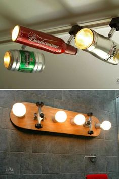Recycled Ceiling Lights from ZAL Creation: ZAL Creations makes lamps using stuff like beer bottles, pipes and skateboard decks. Quite nice stuff!