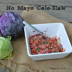 No Mayo Cole Slaw - a recipe for a delicious no-mayo cole slaw, perfect to take along to outdoor picnics