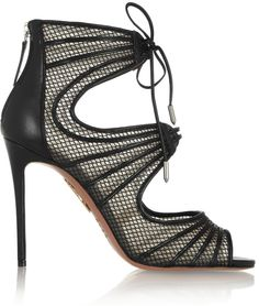 Aquazzura Muse Leather and Mesh Sandals