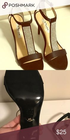 Nina Black T-Strap Rhinestones High Heels Sandals Worn once on a cruise ship for formal dinner. Size: 8.5M Nina Shoes Sandals