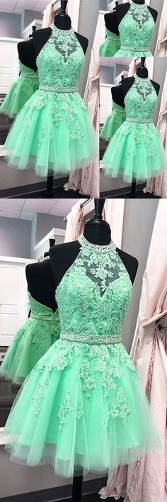 Green homecoming dresses, short prom dresses, a line halter tulle appliques backless prom dress,green homecoming dresses prom dresses, Pretty Dresses, Sexy Dresses, Beautiful Dresses, Short Dresses, Formal Dresses, Awesome Dresses, Elegant Dresses, Summer Dresses, Tulle Dress