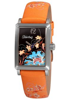 Stuhrling Original Created in a blend of fashion and class, this Stuhrling timepiece exhibits a bold style that adds flare to your collection. Seiko, Steps Design, Gifts For Your Girlfriend, Bracelet Cuir, Orange Leather, Bold Fashion, Gifts For Family, Quartz, Crystals