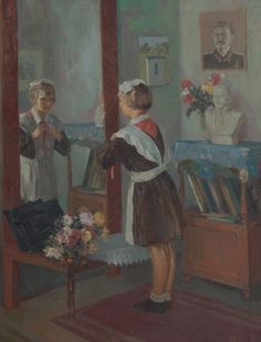 1950's A.B.Волков, '1 Cентября' | The 1st of September is the beginning of the school year in The USSR/Russia.