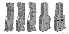 I chose this image because it is an interesting example of a Sci-fi pillar concepting process, with idea variation.