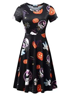 e6d6d0c2d751 FENSACE Womens Short Sleeves Casual A-line Halloween Pumpkin Dress  DESCRIPTION Shipping Information: View shipping rates and policies Warm  Tips: Please ...