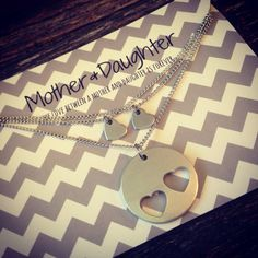 Hand Stamped  Mother Daughter necklace set by TheMuddyHammer, $30.00