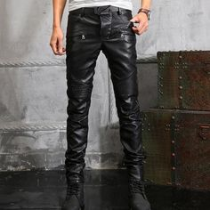 New Arrival Top Quality Mens Genuine Leather Retro Motorcycle Pants Man Slim Fit Pants Gothic Zip Trousers Plus Size 28-38