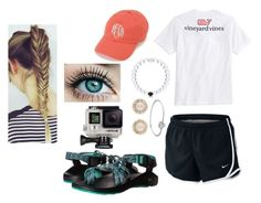 """Lydia's contest//day 1: boarding the ship"" by agrava ❤ liked on Polyvore featuring Chaco, NIKE, Vineyard Vines, Kate Spade, Pandora, GoPro and lydscruise2016"