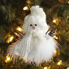 Feather Snowman Ornament | Pier 1 Imports