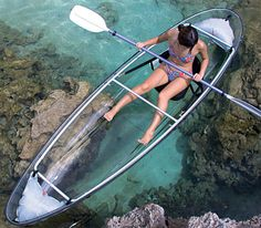 Crystal Clear Canoes ~ See where your going for easy navigation, and enjoy the view of marine life below you. This canoe is also collapsible for easy storage!