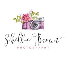 Vintage Camera Logo, Flower Logo, Calligraphy Logo, Small Business Logo, Photographer watermark n066