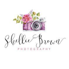 Vintage Camera Logo, Flower Logo, Calligraphy Logo, Small Business Logo, Photographer watermark n066