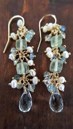 Gold Aquamarine And Prehnite Earrings Real Moss Aquamarine