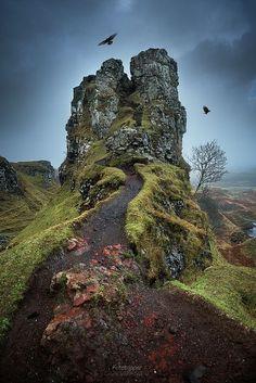 ~~The Fairy Glen - Isle of Skye | two crows fly over the misty Scottish Highlands, Scotland, UK | by Gavin Hardcastle - Fototripper~~