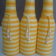 Garrafa de vidro long neck decorada