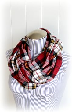 Red Plaid Infinity Scarf...buy some fabric at the store and then hand sew the 2 ends together. wham bam infinity scarf!!!
