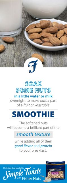 A Simple Tip with Fisher Nuts from Jones Guarnaschelli Vegetable Smoothies, Iron Chef, Alex Jones, Yummy Snacks, Fruits And Vegetables, Food Hacks, Food Network Recipes, Spice Things Up, Fisher