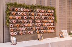 Donut wall reception detail — Pastel Pink, Purple, and Navy Wedding at Noah's Event Venue Chesapeake Virginia