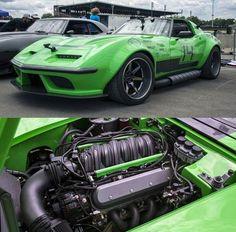 "A Wild And Venomous 1968 Pro Touring Chevy Corvette ""The Green Mamba"" - ThrottleXtreme Chevrolet Corvette, Corvette C3, Corvette Summer, Sport Cars, Race Cars, Motogp, Jdm, Mustangs, American Muscle Cars"