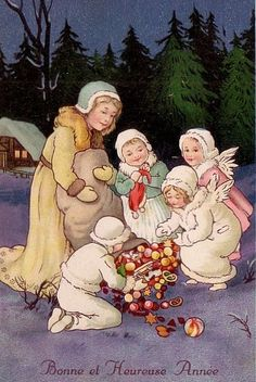 CHRISTMAS NEW YEAR ANGELs spill out GIFTs unsign. MARIE FLATSCHER 1929 L@@K !!! | Collectibles, Postcards, Artist Signed | eBay!