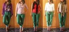 This blog has some neat everyday outfits. Needed green pant outfit ideas.