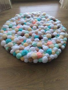 Pom pom rug/handmade bathroom mat/home decor/pom pom baby carpet/nursery room/fluffy/multicolor/kids room decor/ by ChunkyKnitworks on Etsy