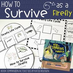 "Learn about the life cycle of a firefly in an engaging and humorous fashion with these fun book activities for ""How to Survive as a Firefly"", written by Kristen Foote & illustrated by Erica Salcedo! Perfect for Kindergarten & 1st grade students in a classroom or home school. This is a great companion to use with the book! Download the FREE activity pack includes a life cycle crown & spinner book, a practice page, & vocabulary cards.  {K, first, graders, freebie, science, homeschool}"
