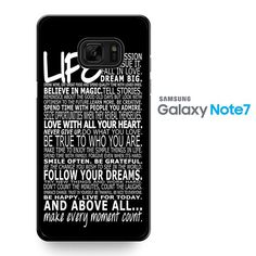 Life Quotes Black TATUM-6485 Samsung Phonecase Cover For Samsung Galaxy Note 7
