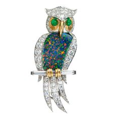 Opal Diamond Owl Pin | From a unique collection of vintage brooches at http://www.1stdibs.com/jewelry/brooches/brooches/