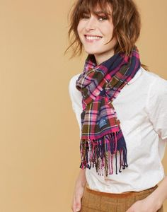 Joules Bracken Soft Handle Scarf in Pink Check in One Size Joules Uk, Holiday Wishes, Winter Accessories, Fashion Outfits, Womens Fashion, Baby Items, Womens Scarves, Plaid Scarf, Silk