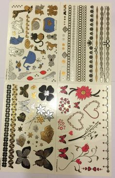 Super fun designs of Bears, Wolves, http://sterlingbeautytools.com/collections/types?q=Temporary%20Tattoos Turtles, Snakes, Mustaches, Fish, Heroes, Paw Prints, Birds, Lizards, Skulls, Anchors, Lions and more!     74 individual tattoos! 4 different sheets per pack. Made from metallic foil and are super shimmery!     Great for boys and girls! Check out all of Twink Designs Temporary Tattoos!