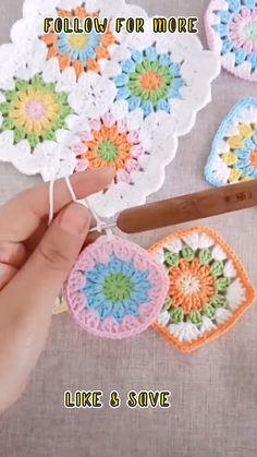 Crochet Flower Tutorial, Crochet Instructions, Crochet Flower Patterns, Afghan Crochet Patterns, Crochet Flowers, Crochet Coaster Pattern, Crochet Motifs, Granny Square Crochet Pattern, Crochet Squares