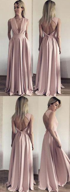 A Line Evening Dress, Open Back Evening Dresses, Deep V Neck Long Prom Dress M2108