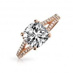 Bling Jewelry Sterling Silver Rose Gold 2ct Cushion Cut CZ Engagement Ring