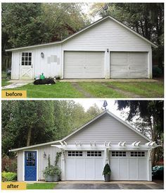 Fresh Paint New Light Fixtures Carriage House Style Garage Doors And The Addition Of A Pergola Make This Picture Perfect Makeover