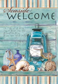 Custom Decor Flag - Seaside Welcome Decorative Flag at Garden House Flags Deco Marine, Foto Transfer, Cottages By The Sea, House Flags, Decoupage Paper, Flag Decor, Beach Art, Beach Themes, Coastal Decor