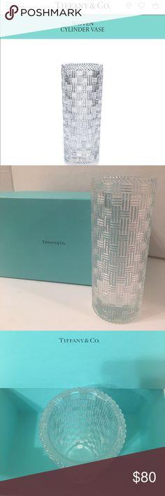 "AUTHENTIC TIFFANY & CO BASKET WEAVE 8"" VASE W/BOX STUNNING AUTHENTIC CRYSTAL TIFFANY & CO 8"" BASKET WEAVE VASE WITH ORIGINAL BOX! Tiffany & Co. Other"