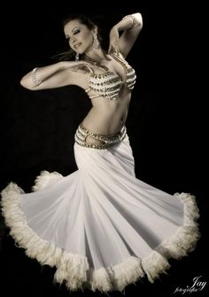 Oooh that skirt!  belly dancer | belly dance costume preciousstone jan 08 2013 white belly dancing ...