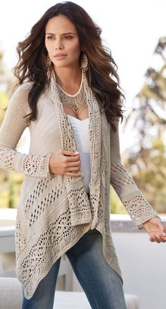 BOHO CHIC, CASUAL CROCHET beige Cardigan. Summer #women #fashion outfit #clothing style apparel @roressclothes closet ideas