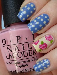 rose accent nail in blue with white polka dots mani -- love it!
