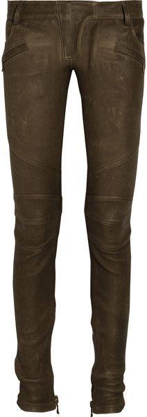 BALMAIN Stretch leather Motocross Pants