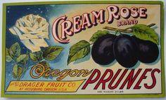 CREAM ROSE Vintage Roseburg Oregon Prune Crate Label, wear