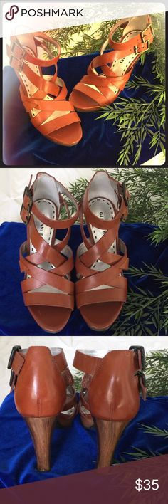 """NWOT GIANNI BINI HEELS Beautiful leather GB sandals. Never worn . Wooden appearance (unsure if real wood?) heels/soles. Double ankle strap with buckle. Heel approx 4"""" platform approx 1/2"""". Gianni Bini Shoes Sandals"""