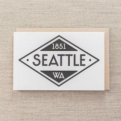 Seattle Diamond 1851 - Letterpress Greeting Card, By Pike Street Press - Seattle