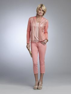 TEA PARTY 6    R13404  Zip Front Mixed Media Jacket  Available in *Coral Blush, Buttercup Yellow, Simply Taupe  Sizes: 2 - 18    R13900  Square Neck Tank  Available in *Coral Blush, Buttercup Yellow, Citrus Green, Jet Black, Midnight Blue, Off White, Poppy Red, White  Sizes: XS - XXL  Also Available in Woman's Sizes 1X - 3X    R13920  Capri  Available in *Coral Blush, Citrus Green, Clockwork Orange, Cosmic Blue, Versace Green, White  Sizes: 2 - 18  Also Available - Woman's Sizes W14 - W24