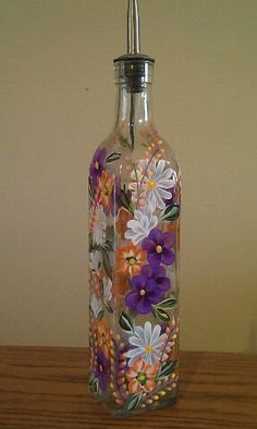 Floral Olive Oil Bottle Hand Painted by PaletteArtWorks on Etsy, $25.00