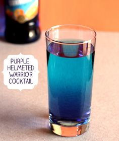 Purple Helmeted Warrior drink recipe - Blue Curacao, Southern Comfort, Peach Schnapps, Rum, Lime, 7-Up, Grenadine
